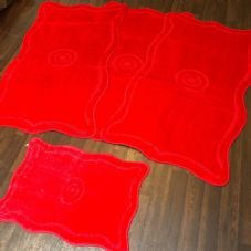 ROMANY GYPSY WASHABLES 4PC SET NON SLIP MATS 80x120CM TARGET DESIGN RED CARPETS